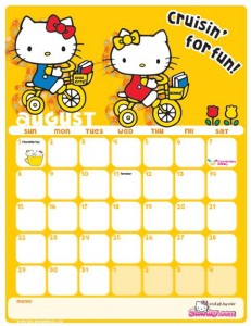 Hello Kitty Calendrier Aout 2010