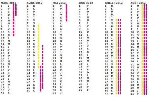 Calendrier scolaire 2012 Vacances scolaire en famille