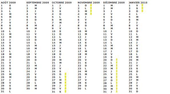 Calendrier scolaire 2009 2010 Zone A