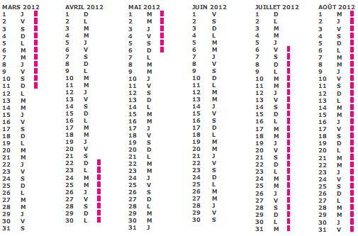 Calendrier Vacances scolaire 2011 2012 zone b