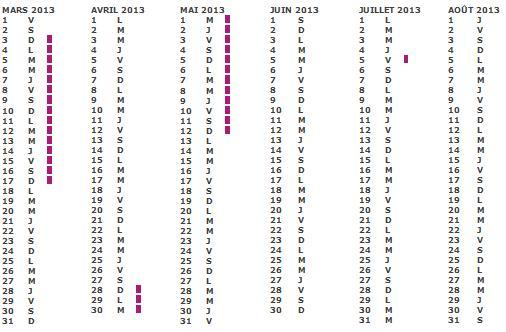 Calendrier Vacances SCOLAIRE 2012 2013